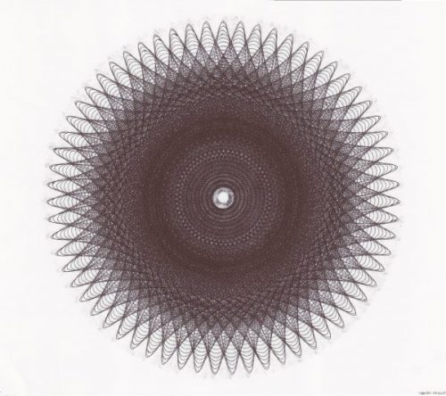 Parametric drawing done with a Zebra Surari 1.0 mm emulsion ink. ©Mary Wagner
