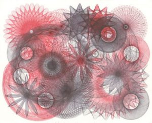 Abstract expressionist ballpoint pen ink drawing.