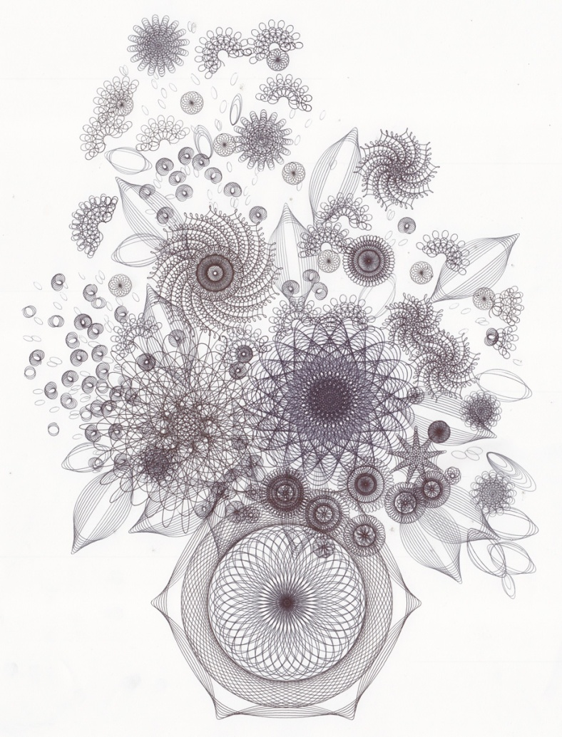 Floral composed of hundreds of hypotrochoid drawings.