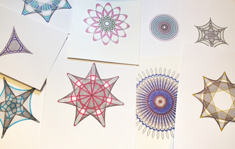 Adding color to hypotrochoid parametric drawings.