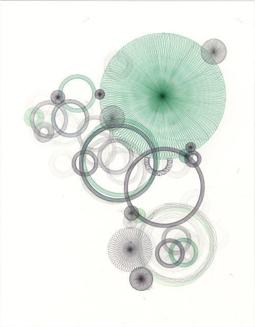 Abstract drawing with circles, spirals. Water theme.