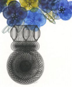 "Detail of ""Pansies In A Vase"" parametric drawing by Mary Wagner. Copyright Mary Wagner"