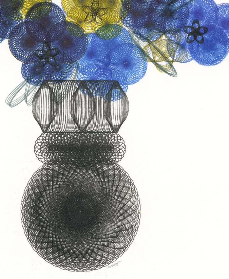 "Detail of ""Pansies In A Vase"" parametric drawing by Mary Wagner."