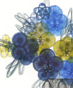 """Pansies In A Vase"" detail of line drawing by Mary Wagner. Copyright Mary Wagner"