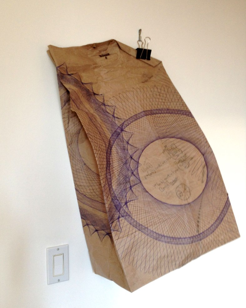 Mary Wagner, Brown Bagging It, Parametric Drawing. Ballpoint pen, pencil, pink marker, tape, on recycled kraft paper.