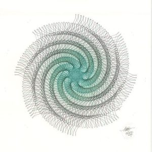 """Vertigo"" ink drawing. Abstract whirl of green and black ink lines. Copyright Mary Wagner"