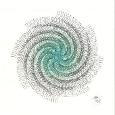 """""""Vertigo"""" ink drawing. Abstract whirl of green and black ink lines. Copyright Mary Wagner"""