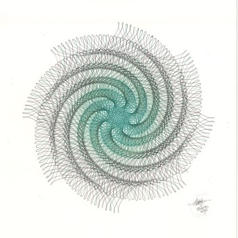 """Vertigo"" ink drawing. Abstract whirl of green and black ink lines."