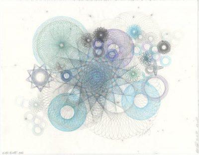 Nebulae drawing, color pencil, graphite. Pale pastels.