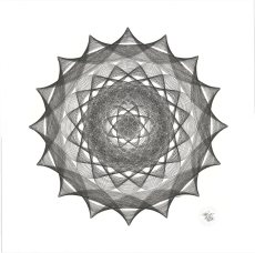 Black ink on paper. Abstract circle drawing