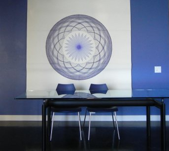 """""""Big Blue"""" my very first large scale drawing testing the drawing wheels."""