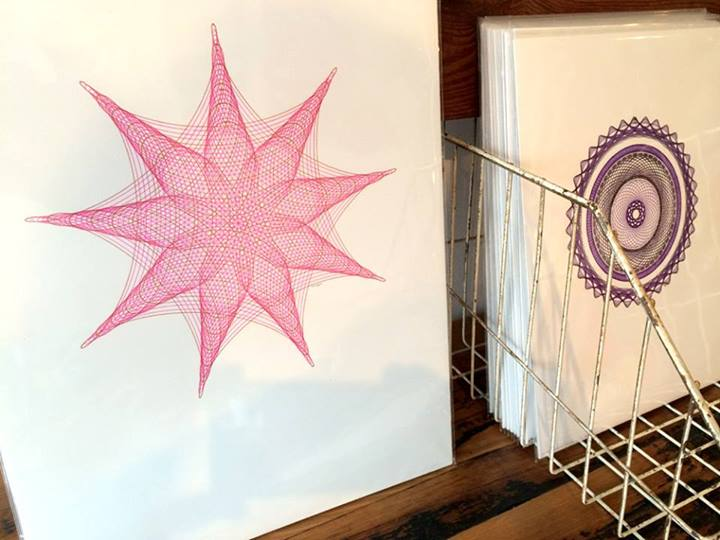 Pink drawing at The Haymaker Shop in Chicago.