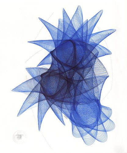 Blue and black Sakura Pigma Micron archival ink on bristol board. Copyright Mary Wagner
