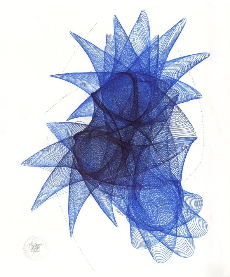 Blue and black Sakura Pigma Micron archival ink on bristol board.