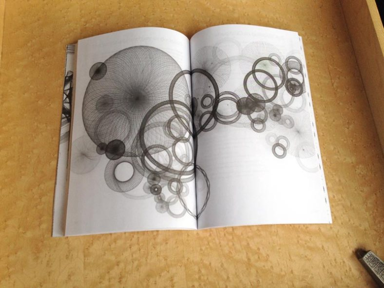 Inside spread with my drawing reproduced in black and white.