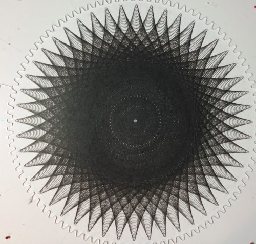 Finished drawing is approximately 15.25 inches in diameter with 36 individual line plots.Copyright Mary Wagner