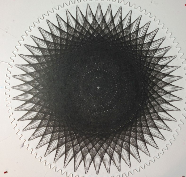 Finished drawing is approximately 15.25 inches in diameter with 36 individual line plots.