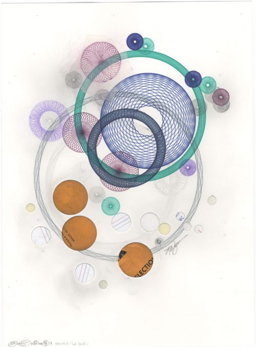 Ink, color pencil, graphite pencil, repurposed paper circles, tracing paper and paste. Copyright Mary Wagner