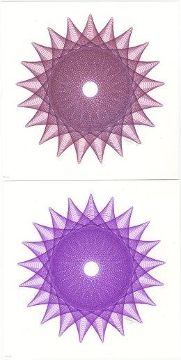 Top colors are purple & red. Bottom colors are purple & fuchsia.
