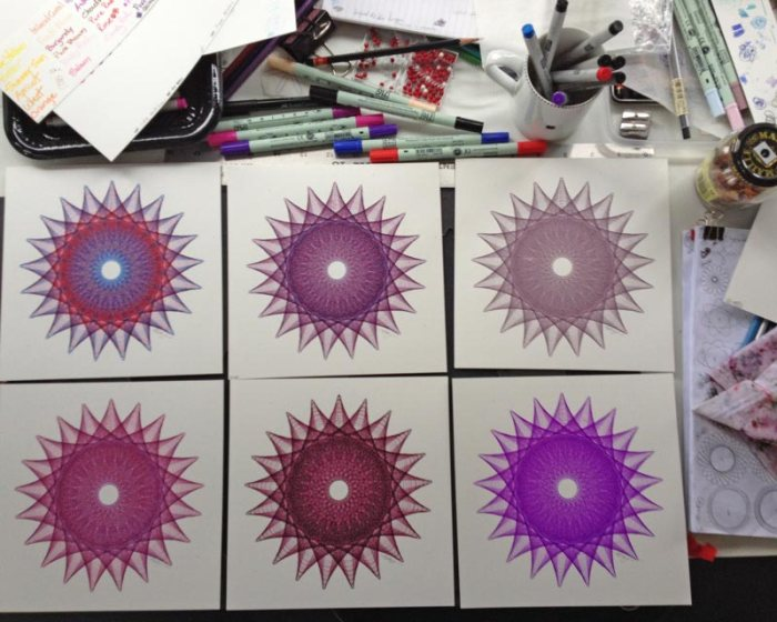 Same line drawing in six different color variations. Copyright Mary Wagner