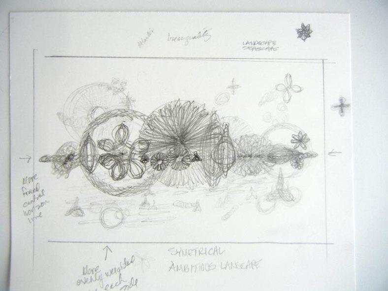 Initial doodles contemplating a landscape/seascape concept.