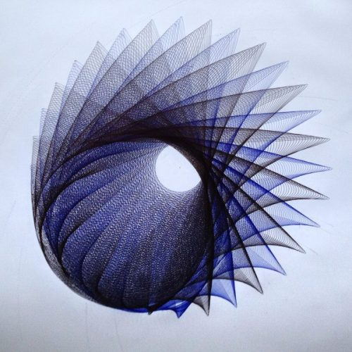 Parametric Drawing, black and blue ink. 24x24 inches. Copyright Mary Wagner