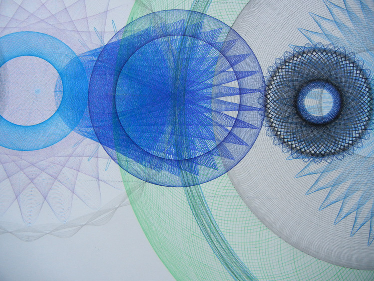 "Detail of work in progress ""Resonance Disaster Landscape"" ink, pencil, color pencil. 8 x 4 feet so far."