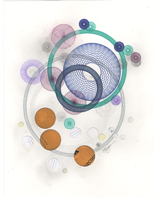 Drawing collage with paper circle elements added.