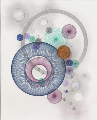 Pencil color, graphite, paper circles. © Copyright Mary Wagner