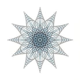 Black, turquoise, indigo blue ink hypotrochoid drawing.