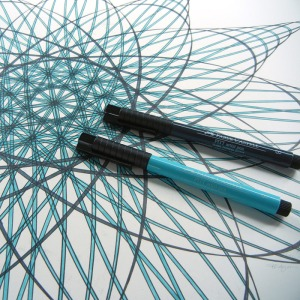 Close up of drawing and pens. Gives an idea of the scale of drawing. Copyright Mary Wagner