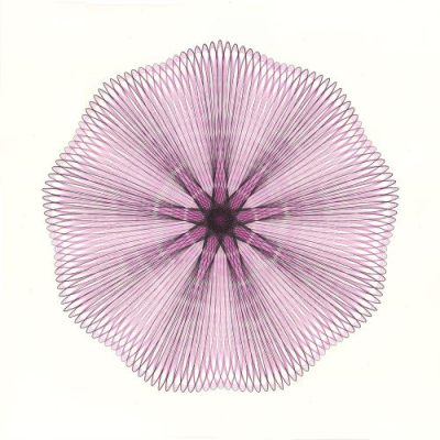 """""""Pink Illusion"""" Pink and black ink drawing on bristol board. 23-inch diameter. Copyright Mary Wagner"""