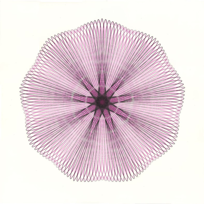 Pink and black ink drawing on bristol board. 23-inch diameter.