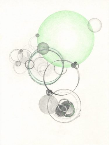 """Study for Reflecting Water"", 14 x 10-1/2 inches, pencil, colored pencil on paper. Copyright Mary Wagner"