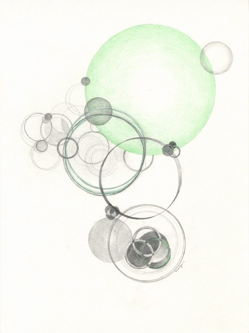 """Study for Reflecting Water"", 14 x 10-1/2 inches, pencil, colored pencil on paper."