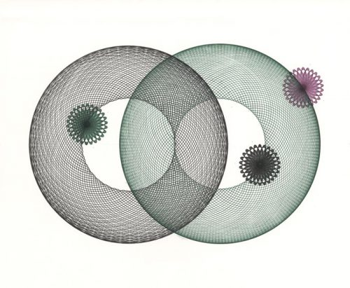 Two large circles, three smaller circles. Copyright Mary Wagner