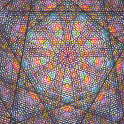 Multi-colored pigment ink lines cross-hatching in the center. Copyright Mary Wagner