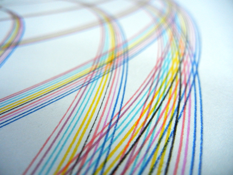 Detail of multi-colored arc lines.