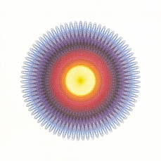 """Sunrise"", 14 x 14 inches, Strathmore Bristol Board, Faber-Castell Pitt Artist Pens, Pigma Micron yellow pen."