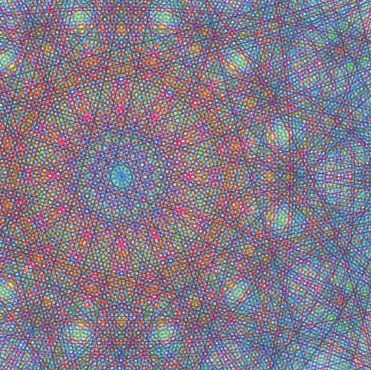 The center of drawing has a dense overlapping of colors with a prismatic appearance.