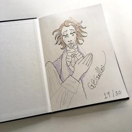 Original hand-colored sketch by G. E. Gallas on inside cover.