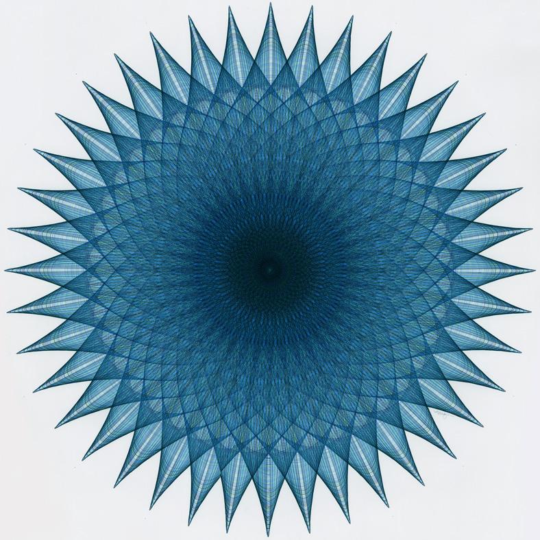 """Blue Opulence"" 26.5 inch diameter figure."