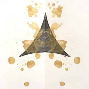 """Golden Triangle"", 12x9, ink and paint on paper. ©Copyright Mary Wagner"