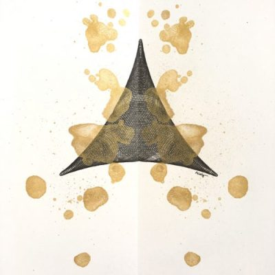 """""""Golden Triangle"""", 12x9, ink and paint on paper. ©Copyright Mary Wagner"""