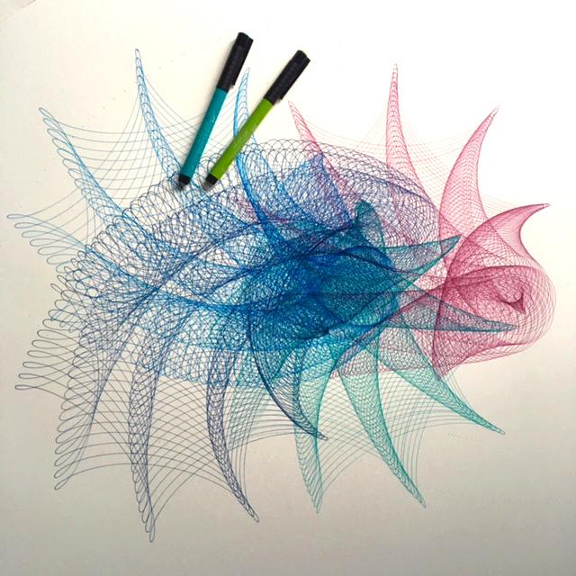 Work in progress on multi-colored rainbow fairy drawing.
