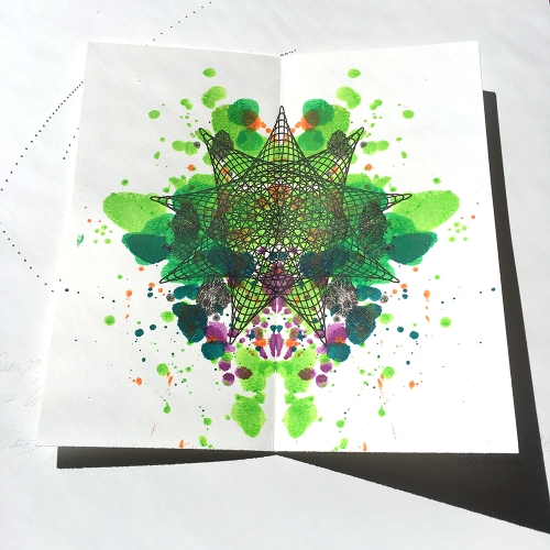 Ink blot painting over ink drawing.