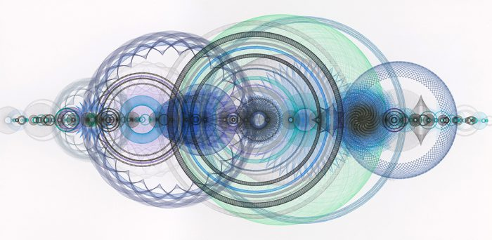 """Resonance Disaster Landscape"", 56 x 100 inches, pigment ink, ballpoint ink, graphite pencil, color pencil on paper ©Copyright Mary Wagner"