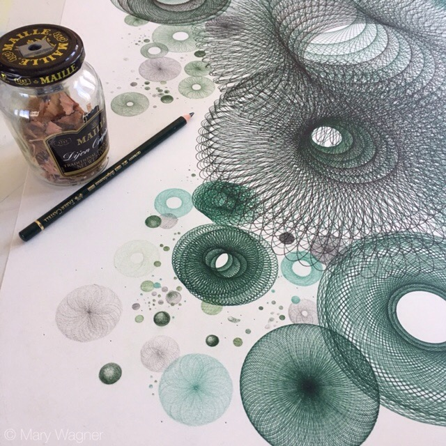 © Mary Wagner Working on some tiny detail in color pencil.