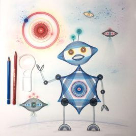 """Automata Robota"", 20x16 inches, ink and color pencil on cotton paper. © 2017 Mary Wagner. All Rights Reserved."