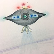 One of the spaceships in the sky. Ink and color pencil. © 2017 Mary Wagner. All Rights Reserved.